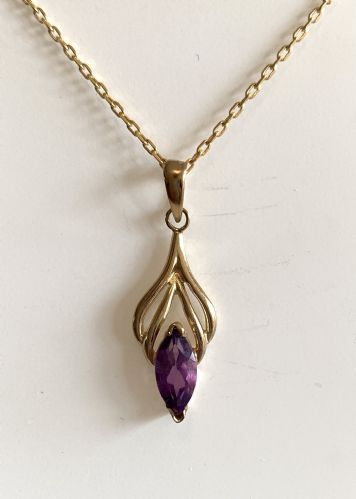 Marquise Shaped Purple Amethyst Yellow Gold Necklace IGPNRW